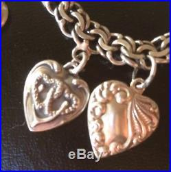 Vintage 1940's Sterling Silver Repousse Puffy Heart Charm Bracelet 12 Charms
