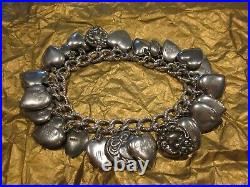 Vintage 24 Sterling Silver PUFFY HEART CHARM Bracelet GUILOCHE W LAMPL ENAMELS