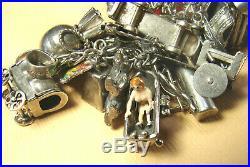 Vintage 50s Sterling Silver LOADED Charm Bracelet 80 charms 185 grms MECHANICALS