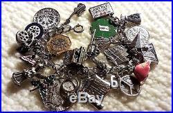 Vintage 60-70's Sterling Silver Charm Bracelet & 26 Charms, 81 grams, 7.375