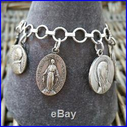 Vintage 925 Silver Bracelet, Silver & Metal Religious Charms, Lourdes, Tschudin