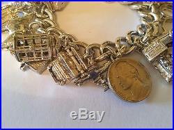 Vintage 925 Sterling Silver Charm Bracelet 138 grams