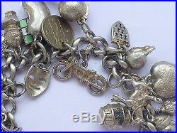Vintage 925 Sterling Silver Charm Bracelet Heart Padlock 7.5 86g b18