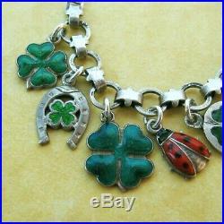 Vintage Antique German Silver Charm Bracelet Enamel Lucky Clover Ladybugs
