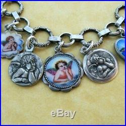 Vintage Antique German Silver Charm Bracelet Enameled Cherubs Gott Schütze Dich
