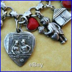 Vintage Antique German Silver Enamel Valentine Hearts Charm Bracelet Cupids Love