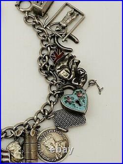 Vintage Antique Sterling Silver Loaded Moveable Charm Bracelet 28 Charms 58g 925