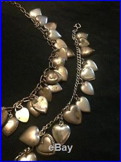 Vintage Antique Sterling Silver Puffy Charm Heart Necklace & Bracelet 44 Hearts
