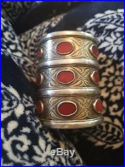 Vintage Antique Turkmen 925 Silver Carnelian gemstone large Cuff bracelet charms