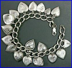 Vintage Art Deco 18 Puffy Heart Charm 925 Sterling Silver Bracelet 7 3/4 24.3g