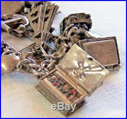 Vintage Automade Sterling Silver Charm 7 Bracelet With 28 Charms 10 Articulated