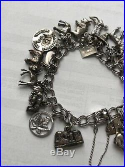 Vintage Beau Sterling Silver Loaded Charm Bracelet