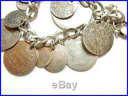 Vintage Birmingham 1960 925 Silver MIXED ANTIQUE COIN CHARM BRACELET 63.4g 7.5