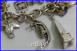 Vintage Bountiful Sterling Silver & Enameled Charm Bracelet 26 Charms