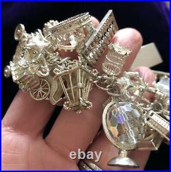 Vintage Chunky Heavy Sterling Silver Charm Bracelet, 32 Charms, Birmingham 1973