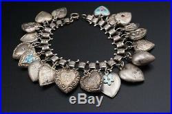 Vintage Enamel Sterling Silver Puffy Heart Charm Bracelet 19 Charms BS1953