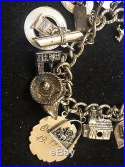 Vintage Estate Sterling Silver Charm Bracelet 1960 -1970 3-d Loads Of 22 Charms