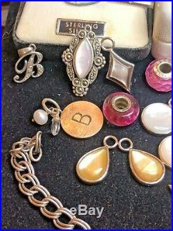 Vintage Estate Sterling Silver Lot Charms & Bracelet Murano Gf Hanson Diamond