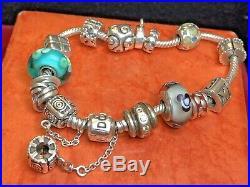 Vintage Estate Sterling Silver Signed Pandora Bracelet & 13 Charms 60 Grs