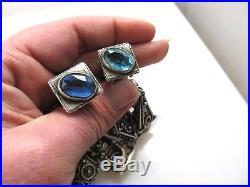 Vintage Etruscan 800 Silver Charm Bracelet Blue Glass Fob Italy