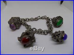 Vintage Etruscan 800 Silver Fob Charm Bracelet Cabochon Stones 65.8 grams