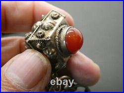 Vintage Etruscan 800 Silver Italian Art Glass Ornate Fob Charm Bracelet Size 8