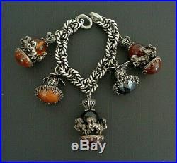 Vintage Etruscan Silver Fob 5 Charm Bracelet Jewelry Carousel Horses Butterflies