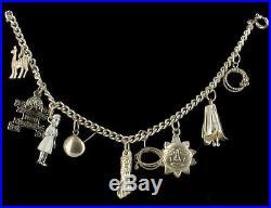 Vintage Fine Silver Charm Bracelet Aztec Milagros