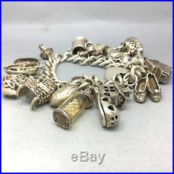 Vintage Fully Loaded 925 Solid Sterling Silver 17 Charms Bracelet 1656