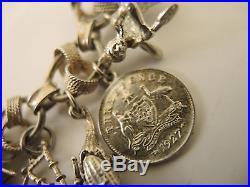 Vintage Heavy Sterling Silver Charm bracelet Uno Erre fancy link chain 60grams