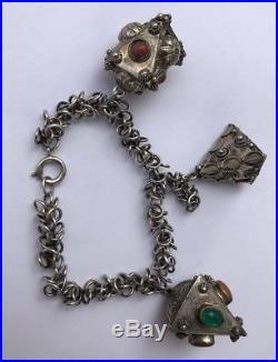 Vintage Huge 800 Silver Charm Fob Etruscan Green Jade & Coral Jeweled Bracelet