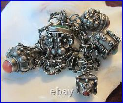 Vintage Italy 800 Silver Etruscan Canatille Fob Bracelet Real Stones 48 Grams