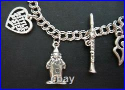 Vintage James AVERY Sterling Silver. 925 Charm Bracelet w 9 Charms 7 1/4 Clown