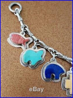 Vintage Joan Slifka Sterling Silver Gemstone Charms Bracelet