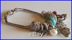 Vintage Judith Ripka sterling silver 925 Turquoise lady bug cz 10 Charm Bracelet