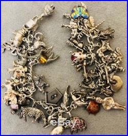 Vintage Loaded Sterling 925 Silver (36) Charm Bracelet Animal Figures Rhinestone