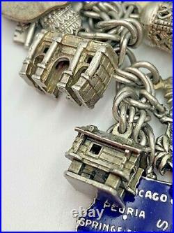 Vintage Loaded Sterling Silver & Enamel Charm Bracelet Travel US Europe 6 1/2