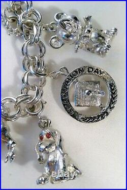 Vintage Monet Silver Tone 9 Charm Bracelet Chunky Big Bull Globe Dog Mouse Horse
