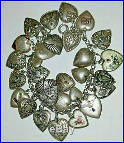 Vintage PUFFY HEART STERLING SILVER 29 CHARM BRACELET Spider & the Fly & More