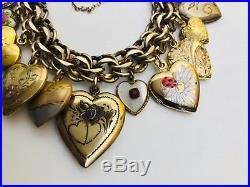 Vintage Puffy Heart Charm Bracelet Gold Filled Sterling Silver Enamel Repousse