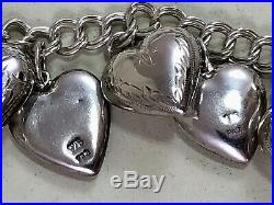 Vintage Puffy Heart Charm Necklace Sterling Silver 25 Charms Bracelet
