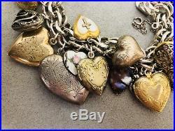 Vintage Puffy Heart Enamel GF Gold Filled Sterling 925 Silver Charm Bracelet