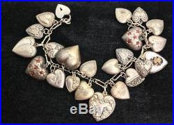 Vintage Puffy Heart Repousse Charm Bracelet Sterling Silver Walter Lampl Padlock