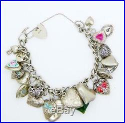 Vintage Puffy Hearts Sterling Silver Charm Bracelet