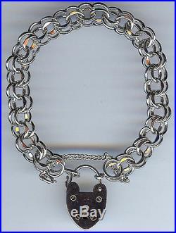 Vintage Quality Signed Sterling Silver Heart Padlock Starter Charm Bracelet