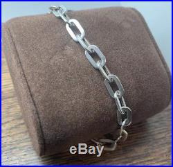 Vintage Rare Tiffany Co Sterling Silver Oval Link 7 75 Charm Bracelet Silver Charm Bracelet