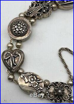 Vintage Shavarsh K Sterling Silver Double Strand 11 Slide Charm Bracelet 43.7g