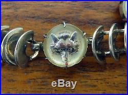 Vintage Silver Charm Bracelet Reverse Intaglio Essex Glass Fox Horse Jumper