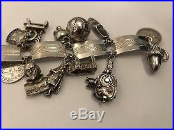 Vintage Silver Charm Bracelet With 21 Charms