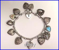 Vintage Silver Puffy Heart Charm Bracelet, Enamel, Walter Lampl